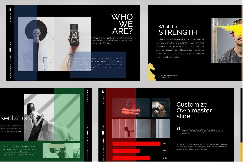 潮流时尚品牌企业宣传PPT幻灯片模板下载Strenght Black Powerpoint插图(5)