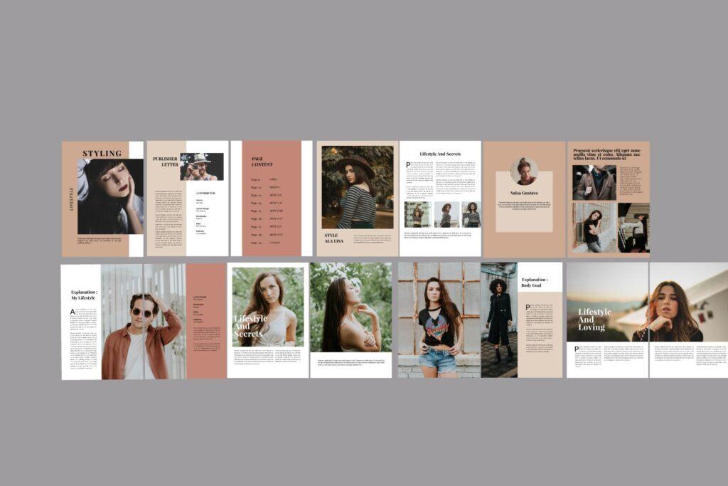 设计师工作室内设计目录/产品目录画册模板Styling Fashioned Brochure插图(5)