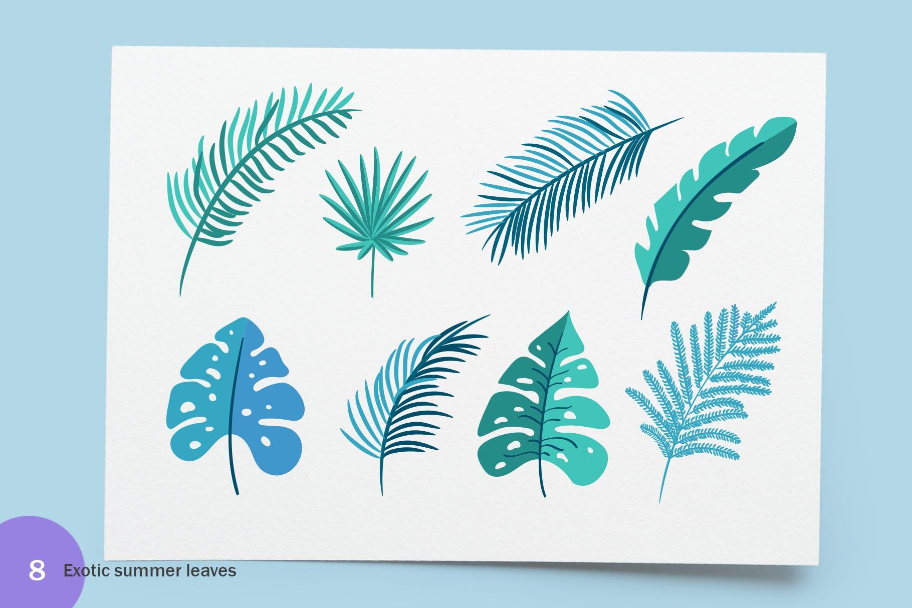 6个夏季无缝矢量图案素材图案纹理Summer Exotic Palm Design Elements SVG插图(5)