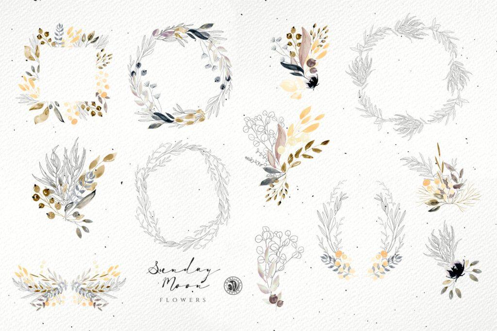 浪漫花卉水彩画婚礼邀请函装饰图案花纹Sunday Moon Flowers插图(4)