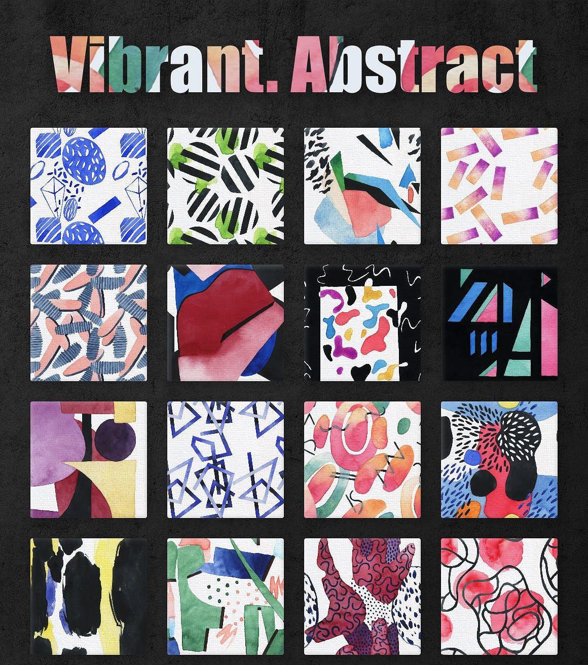 几何纹理水彩装饰图案纹理下载Vibrant Watercolor Patterns插图