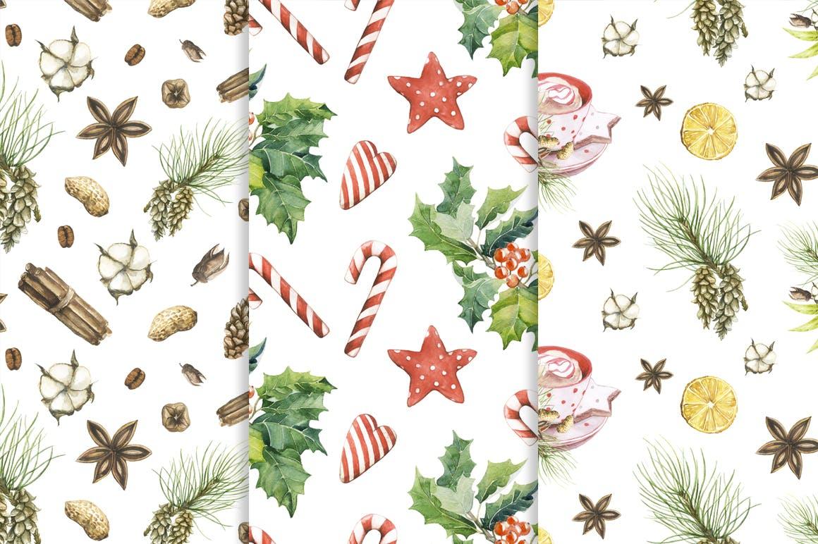 松果/松枝/鹿角森林系列手绘图案纹理元素下载Watercolor Christmas Magic Patterns插图(5)