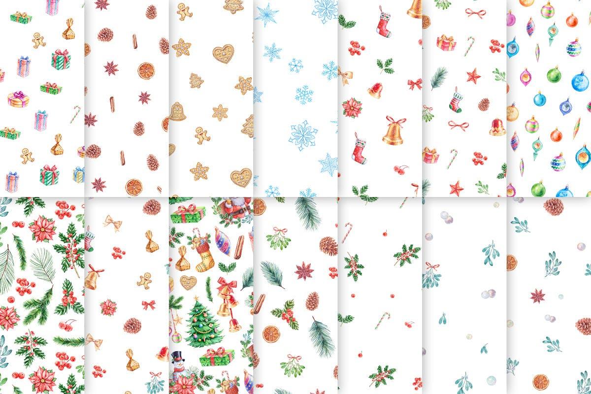 华丽水彩圣诞新年插图装饰图案下载Watercolor Christmas Patterns插图(4)