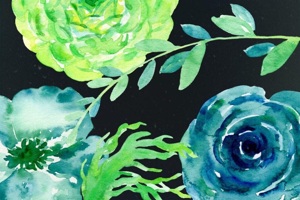 手绘水彩设计工具包全新企业品牌装饰图案花纹Watercolor Design Kit New Green插图(5)
