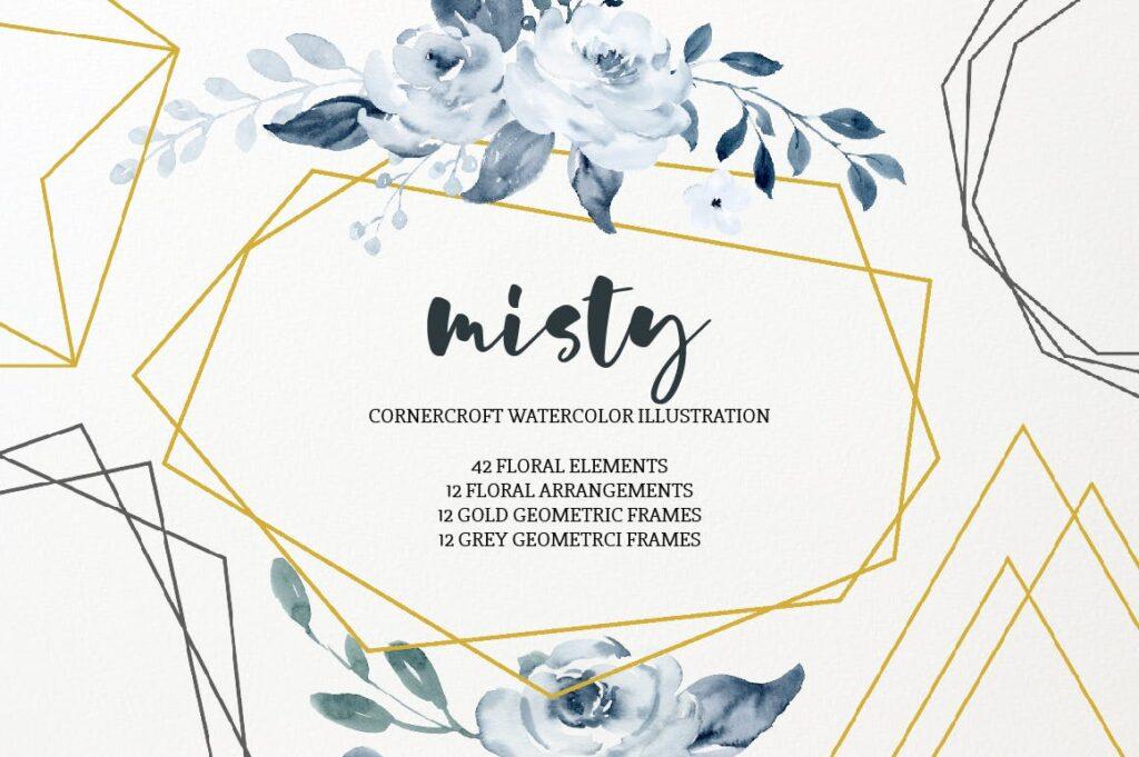 水彩画朦胧创意水墨画图案纹理装饰Watercolor Illustration Misty插图(5)