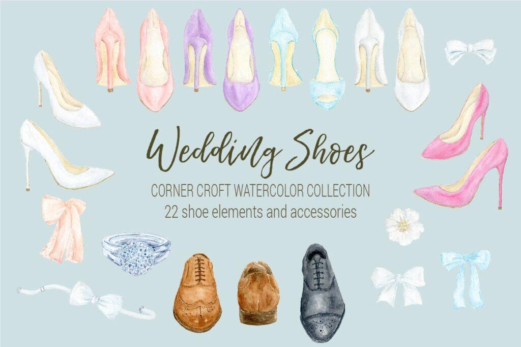 水彩婚纱鞋系列/婚纱鞋剪贴画装饰图案Watercolor Wedding Shoes Collection插图(5)