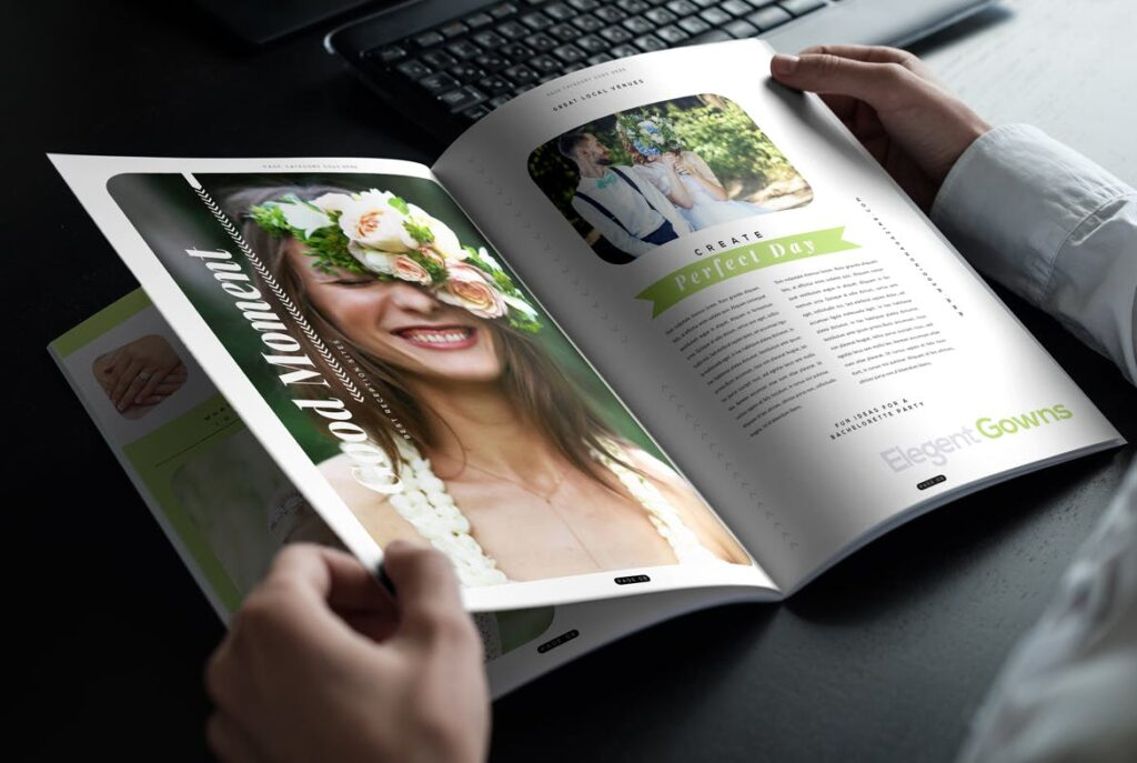 文艺精致版式环保主题婚礼杂志模板Wedding Magazine Template插图(5)