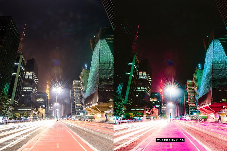 10个城市夜景调色预设照片效果处理LR预设10 Cyberpunk Lightroom Presets LUTs插图(7)