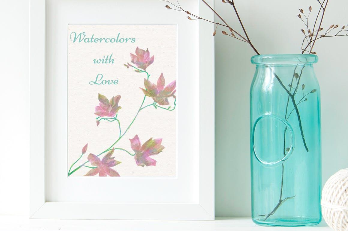 150个花卉树枝月桂服装布艺类装饰150 Watercolor Florals Bonus插图(6)