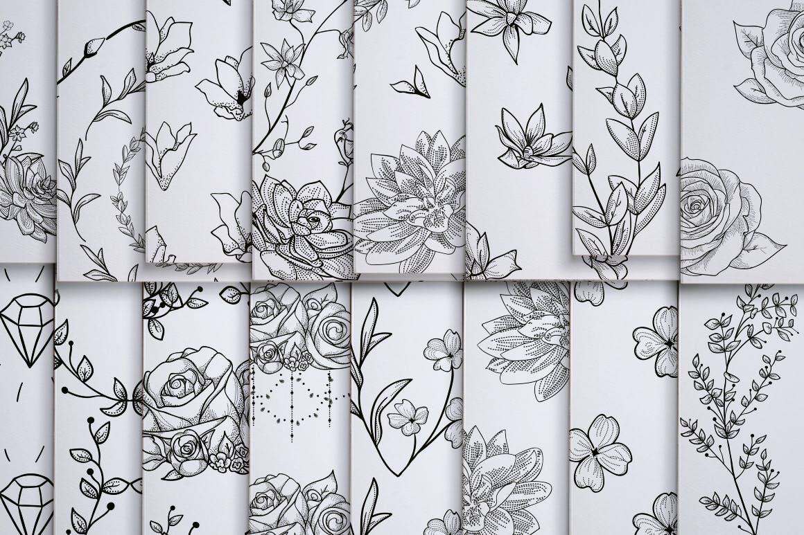 绿色植物与草药轮廓矢量图案31 Floral Patterns Pack插图(6)