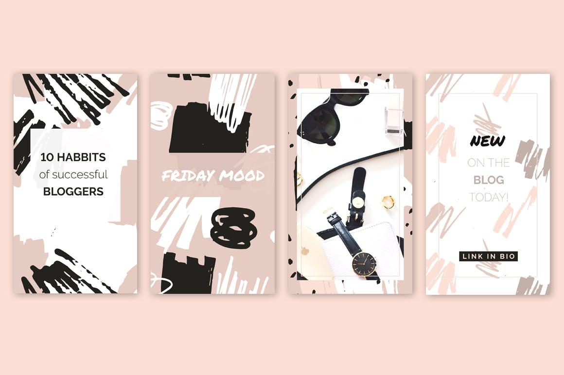 腮红粉红色系列装饰图案花纹素材Blush Crush Patterns Instagram Templates插图(6)