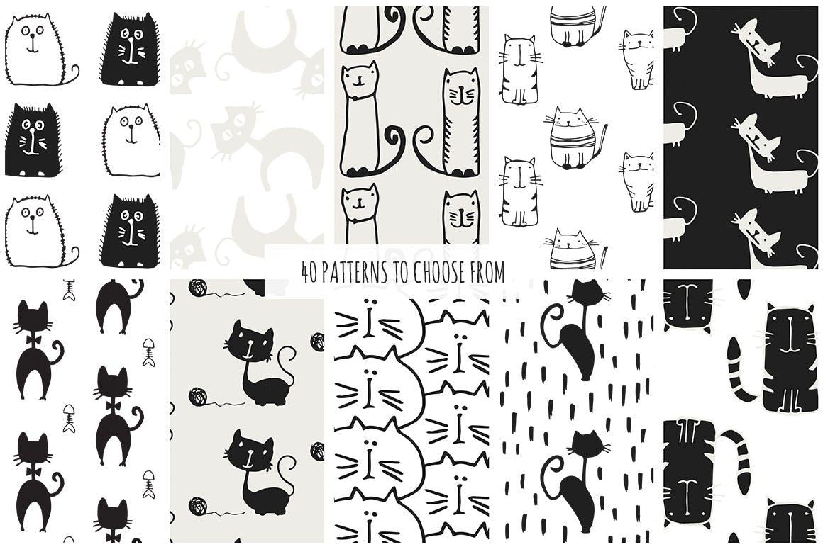 40个矢量猫图案素材展示效果Cats Patterns Set of 40插图(5)