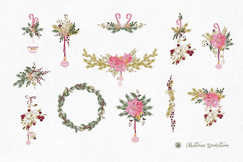 圣诞装饰素材图案纹理花卉图案纹理下载Christmas Decorations插图(6)