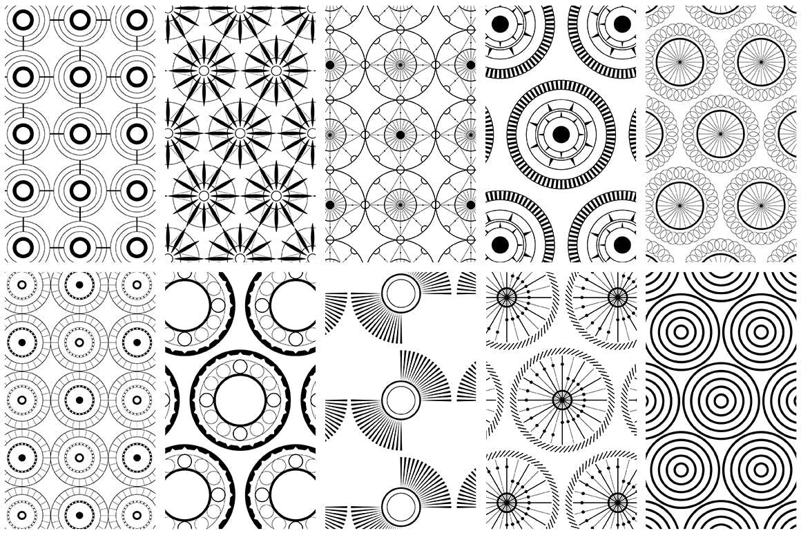 全新优雅的40个圆形无缝矢量图案食品包装装饰图案Circular Patterns Set插图(6)