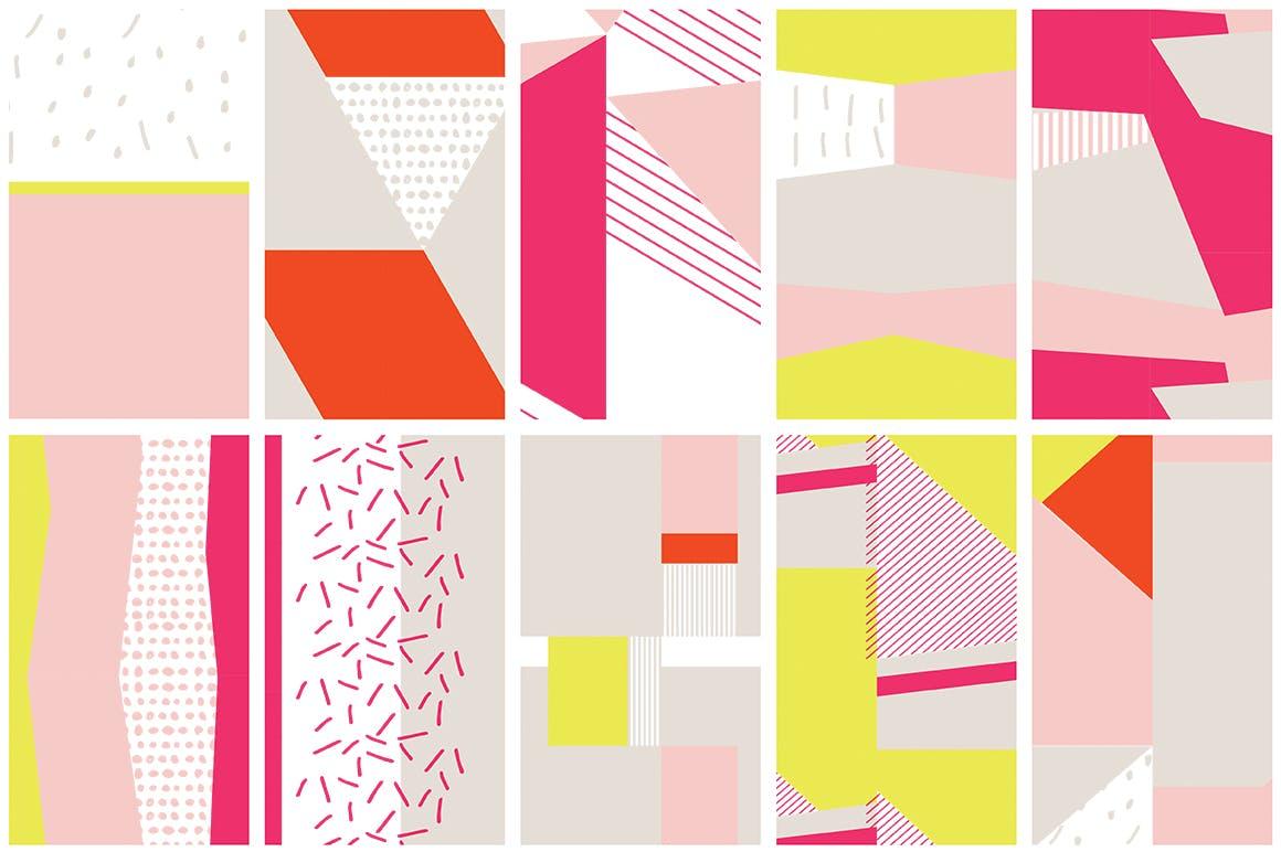 几何饱满色彩图形组合无缝图案组合Color Blocking Patterns插图(6)