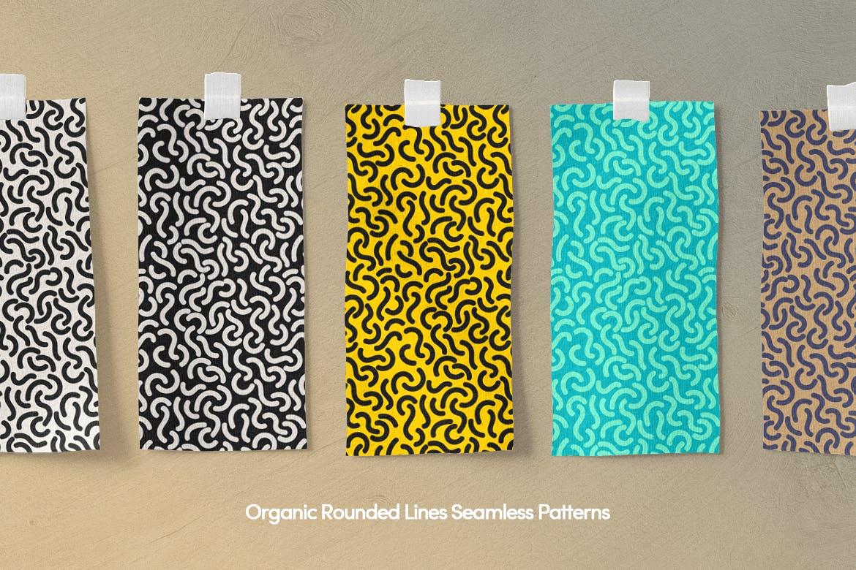 孟菲斯多色艺术几何元素矢量图案下载Colorful Chaotic Rounded Shapes Seamless Patterns插图(6)