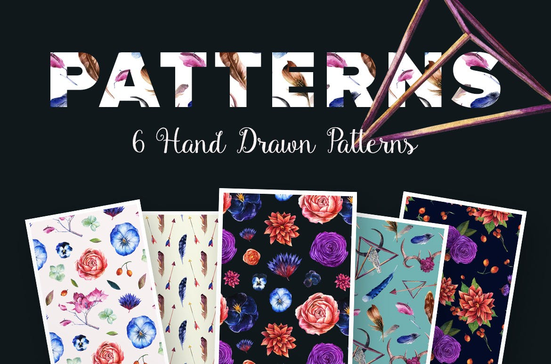 花卉/树叶/羽毛水彩元素装饰图案Enchanted Watercolor Kit插图(6)