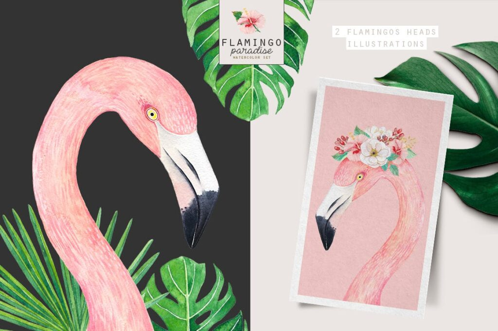 火烈鸟热带树叶和花朵主题装饰元素纹理花纹装饰图案FLAMINGO PARADISE watercolor set插图(6)