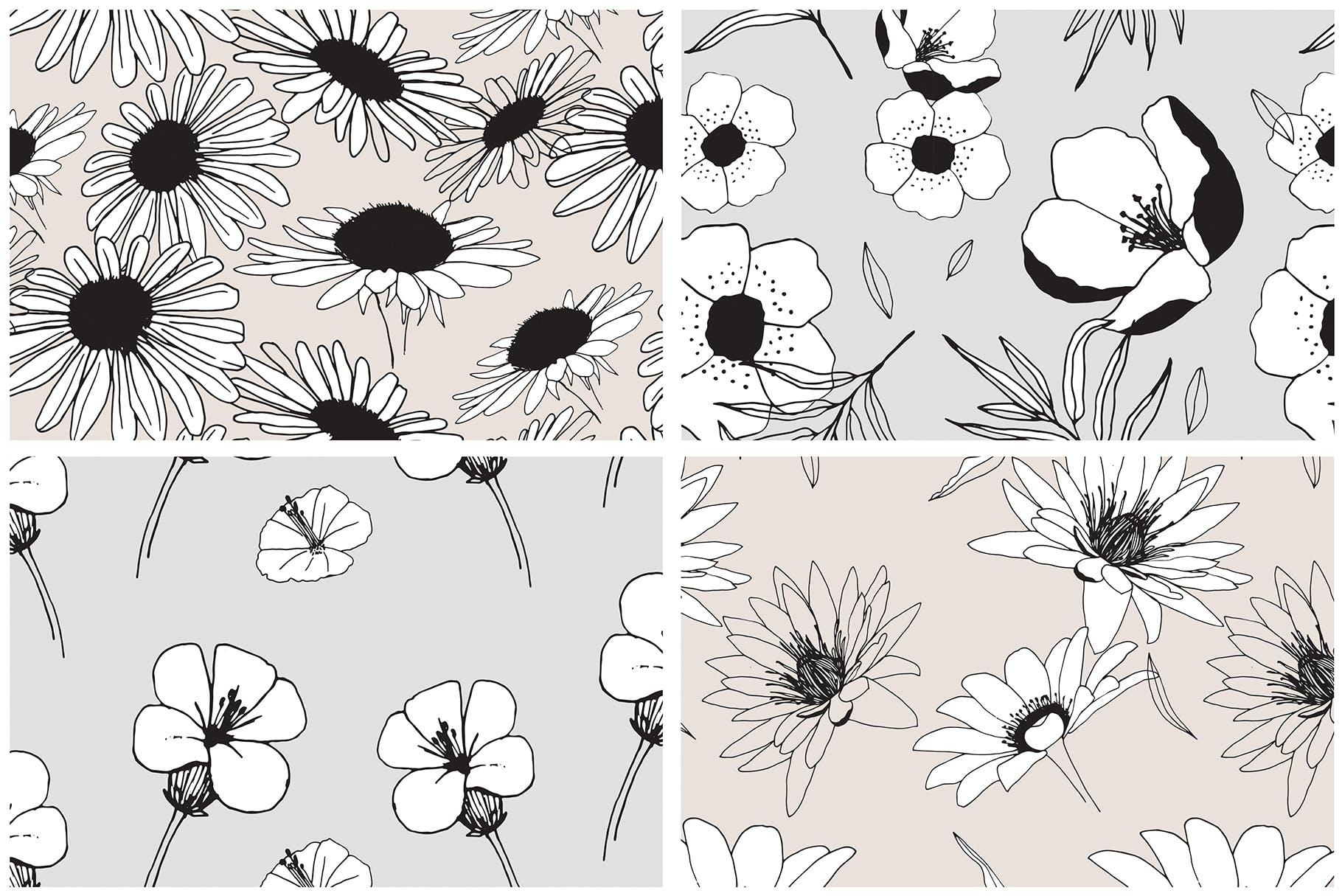 图形花卉图案装饰性元素图案花纹素材下载Graphic Flowers Patterns Elements插图(5)