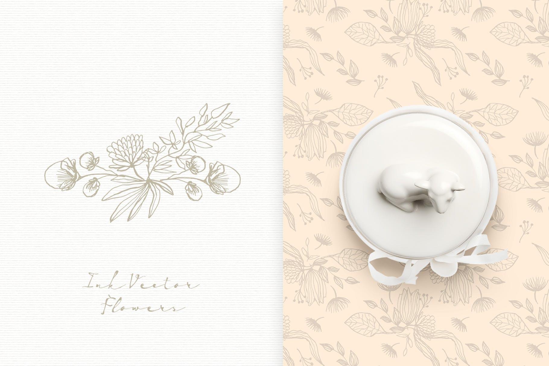 手工研磨制品装饰图案Ink Vector Flowers插图(6)