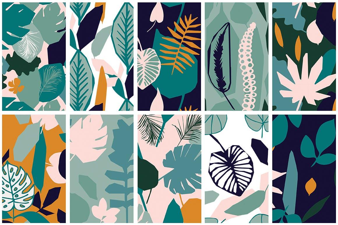 野外40个丛林元素矢量图案元素下载Jungle Patterns Collection插图(6)
