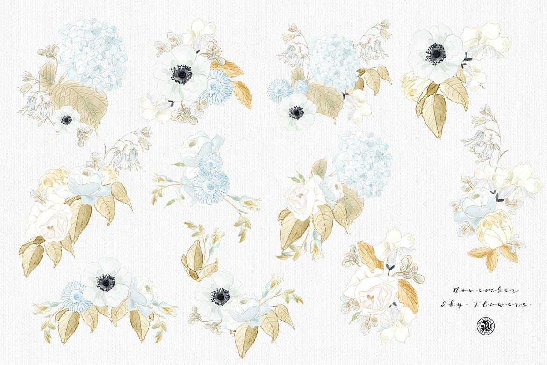 婚礼素雅白色花系装饰图案素材装饰图案下载November Sky Flowers插图(6)