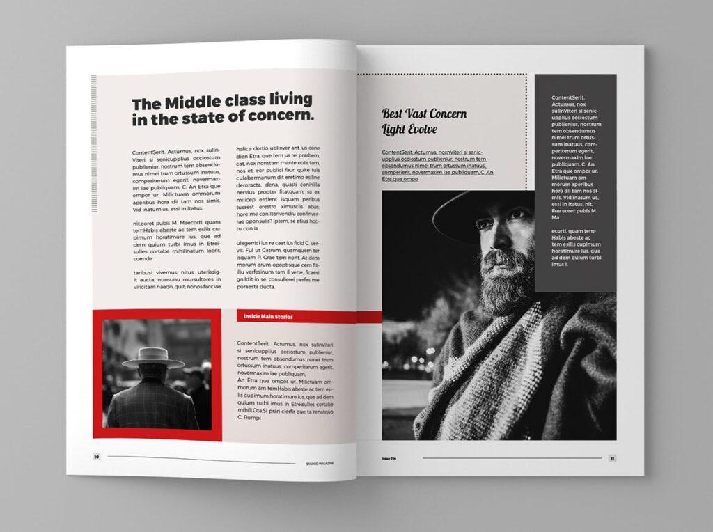 年代历史回忆录主题杂志模板素材Stained Magazine Template插图(4)