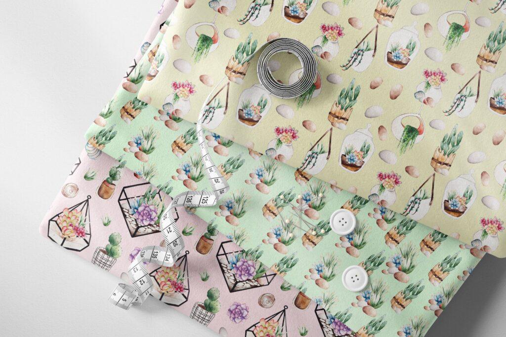 精致手绘元素企业品牌服装装饰图案花纹Succulent Terrarium Watercolor插图(6)