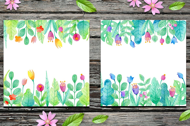 手绘水彩花卉图形元素装饰图案纹理花纹素材Summer Garden Watercolor Design Kit插图(6)