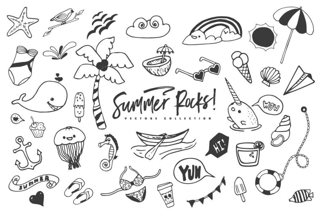 夏季主题元素装饰图案纹理下载Summer Rocks! Vectors Collection插图(6)