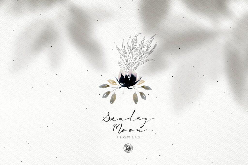 浪漫花卉水彩画婚礼邀请函装饰图案花纹Sunday Moon Flowers插图(5)