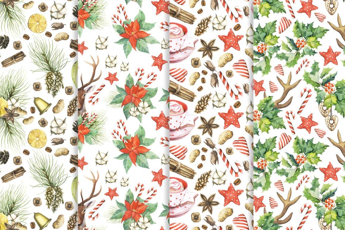 松果/松枝/鹿角森林系列手绘图案纹理元素下载Watercolor Christmas Magic Patterns插图(6)