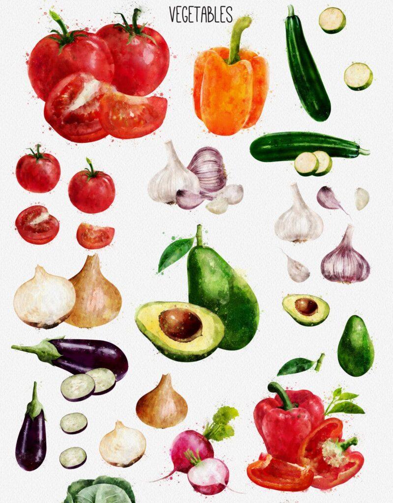 水果蔬菜系列主题水彩装饰图案下载Watercolor Fruits And Vegetables插图(6)