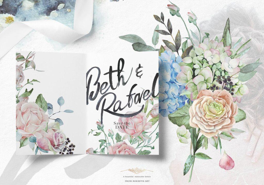 婚礼玫瑰花束创意图案合集邀请函相框装饰图案Wedding roses bouquets Artarian vol22插图(4)