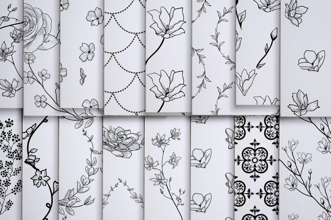 绿色植物与草药轮廓矢量图案31 Floral Patterns Pack插图(7)