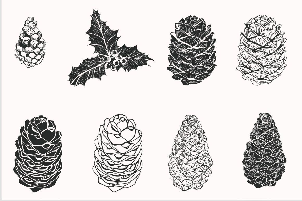 松树/刺柏/落叶创意图案装饰模板下载44 Winter patterns set插图(6)