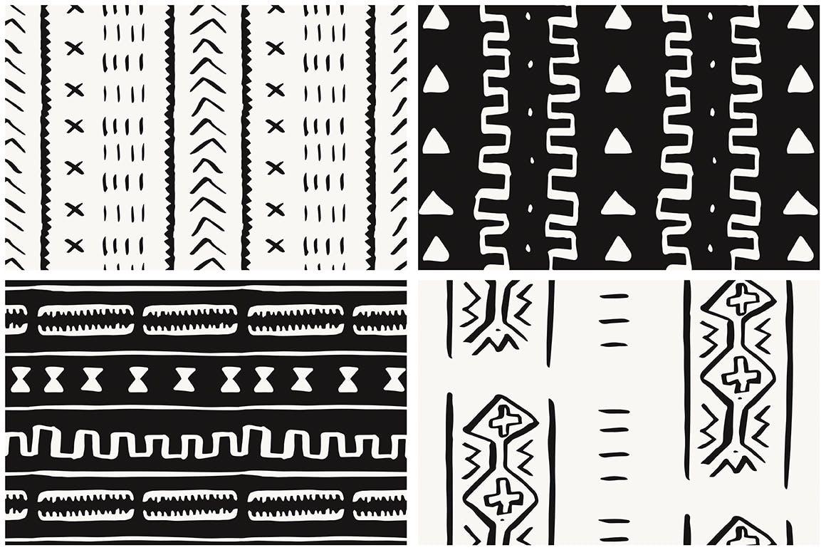 20个美丽的非洲泥布矢量图案集合装饰图案花纹插图(7)