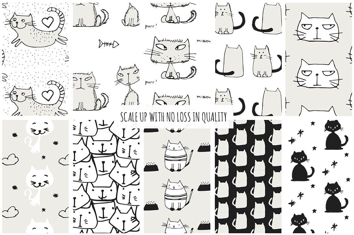 40个矢量猫图案素材展示效果Cats Patterns Set of 40插图(6)