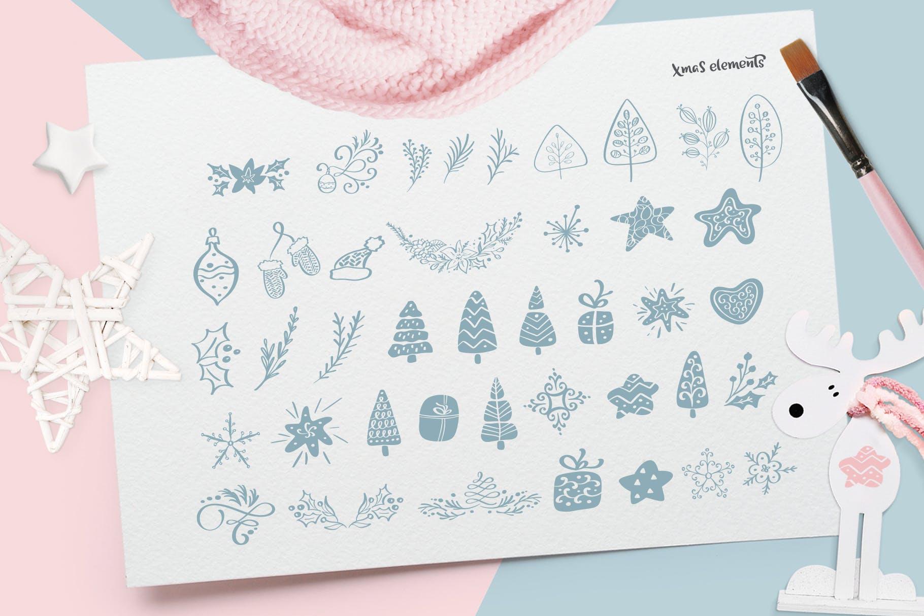 圣诞节元素雪花/星星/手套/礼物图案花纹装饰图案模板Christmas lettering quotes design插图(7)