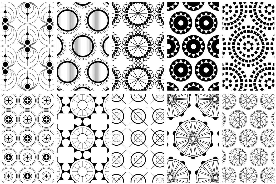全新优雅的40个圆形无缝矢量图案食品包装装饰图案Circular Patterns Set插图(7)