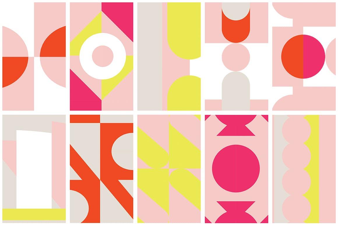 几何饱满色彩图形组合无缝图案组合Color Blocking Patterns插图(7)