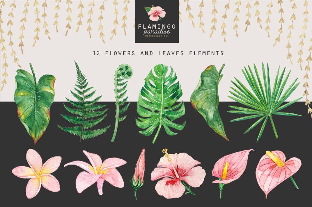 火烈鸟热带树叶和花朵主题装饰元素纹理花纹装饰图案FLAMINGO PARADISE watercolor set插图(7)