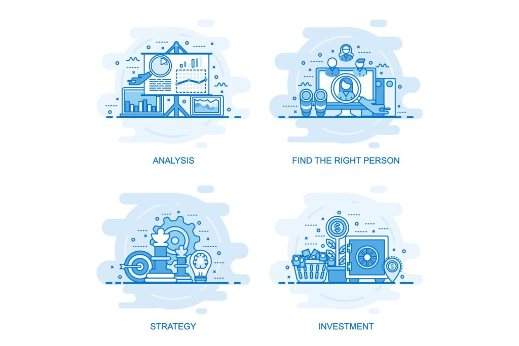 40个商业场景描边风风格插画Flat Line Color Concepts插图(7)