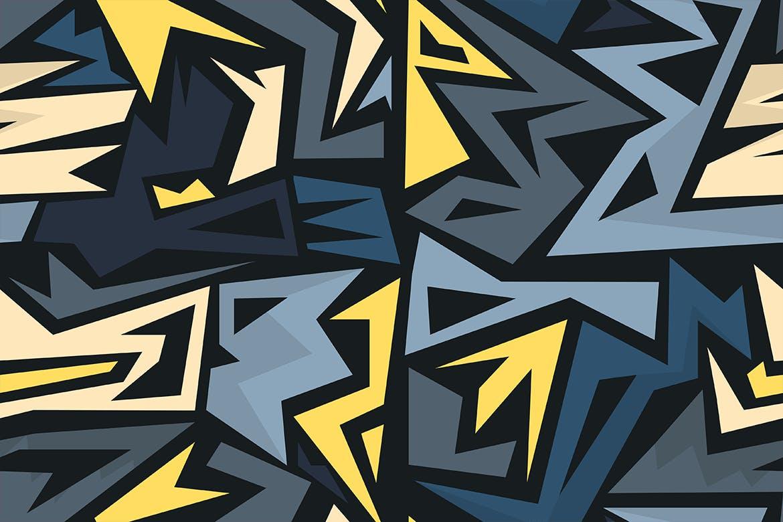 街头艺术创意纹理材质装饰元素Graffiti Maze Seamless Patterns插图(6)