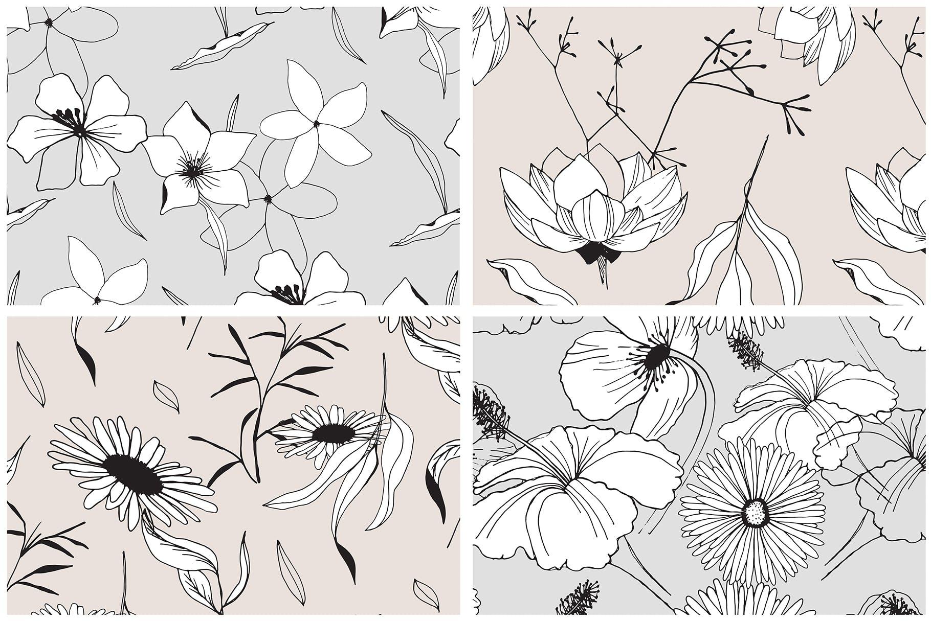 图形花卉图案装饰性元素图案花纹素材下载Graphic Flowers Patterns Elements插图(6)