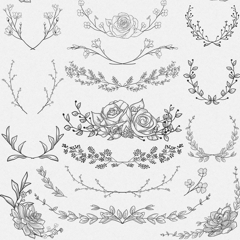 手绘乡村花卉涂鸦设计元素Greenery Collection167 Elements插图(6)