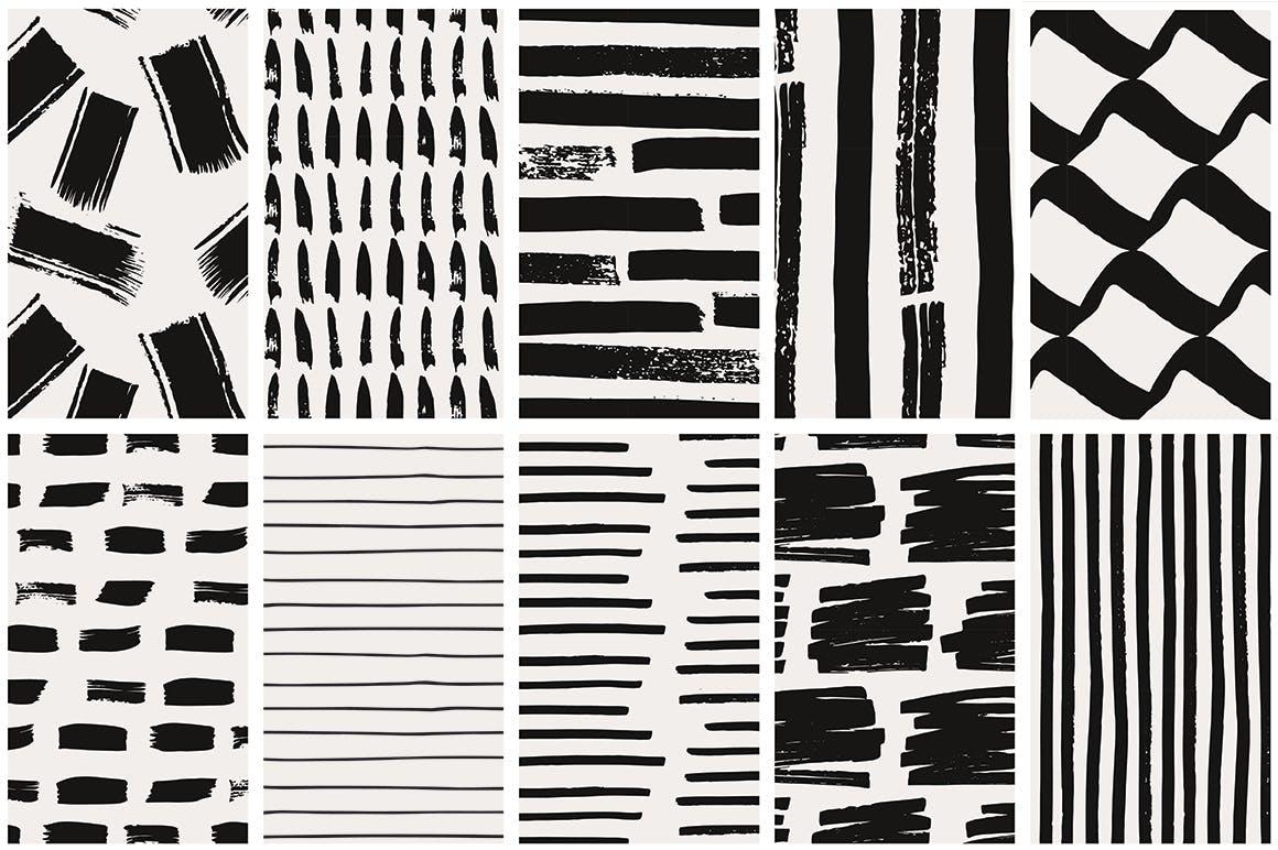 几何线条图案装饰纹理素材Handdrawn Lines Patterns插图(7)