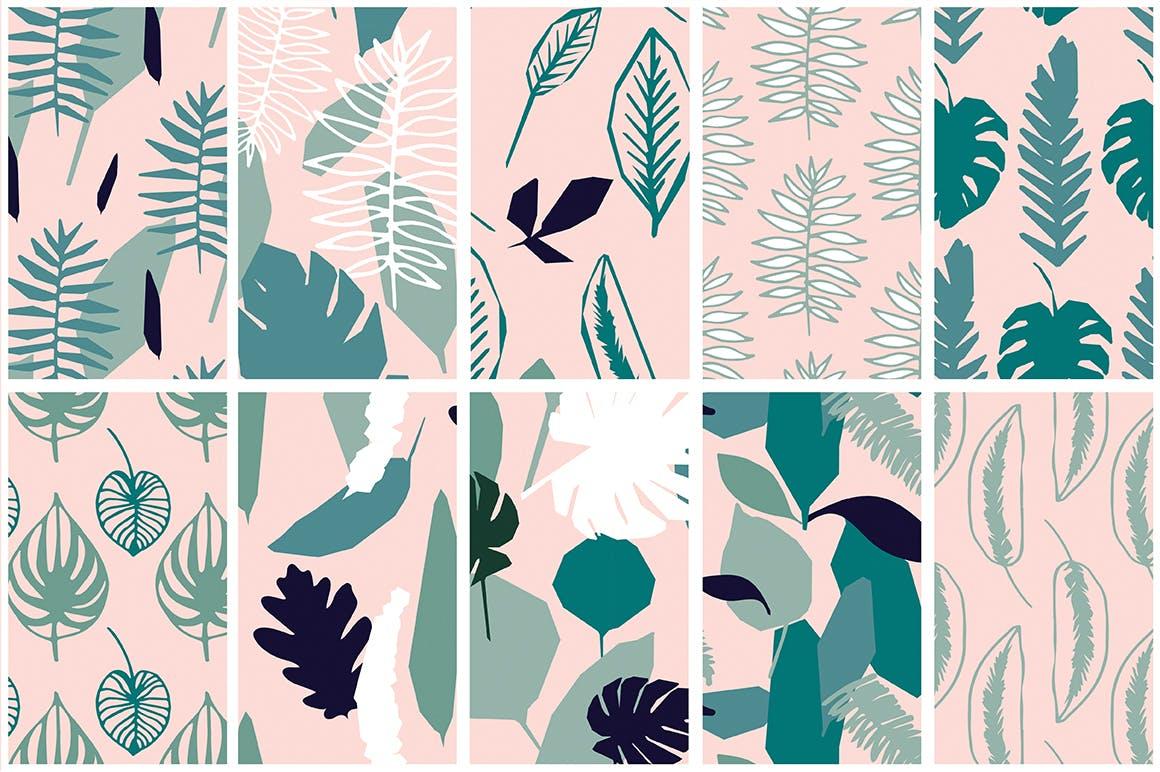 野外40个丛林元素矢量图案元素下载Jungle Patterns Collection插图(7)