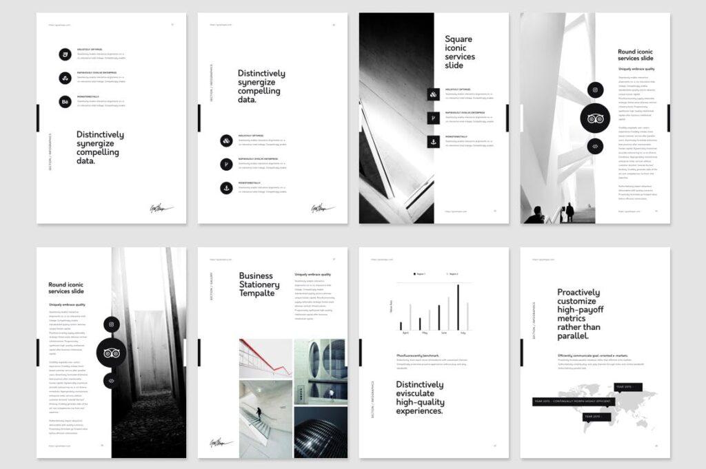 北欧风家居产品风格画册杂志模板下载Nano Illustrator Stationery Template插图(7)