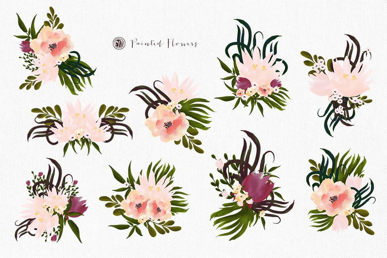 彩绘花卉品牌手提袋包装装饰图案素材Painted Flowers插图(7)